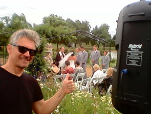 Doing the sound at Gregs wedding
