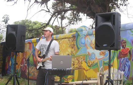 me playing solo on the roadside for the 2009 Argus cyclists